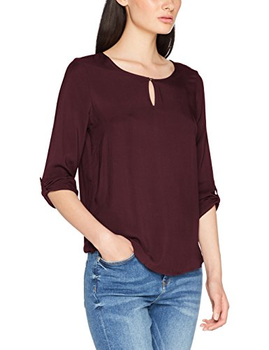 VERO MODA Damen Bluse Vmbuci 3/4 Fold-UP Top Noos, Rot (Port Royale), 42 (Herstellergröße: XL)