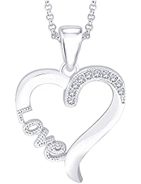 "Peora Sterling Silver CZ Accents Romantic Love Heart Pendant with Free 18"" Chain for Women Girls"