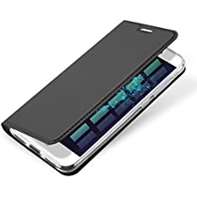 VIFLYKOO Huawei P8 Lite 2017 Funda, Huawei P8 Lite 2017 Flip Cover Con Ranura para Tarjetas Shell Cuero Wallet Carcasa para Huawei P8 Lite 2017 Case - Gris Oscuro