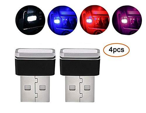 illuminazione auto USB LED,AOLVO 4 Pezzi Car Ambient Lampade,Mini Auto Luci per interni auto, luce di atmosfera per auto, notebook, power bank