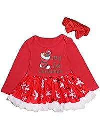 BESBOMIG Bebé Chicas Navidad Equipar Mameluco Vestidos de Tutú Jumpsuit - Manga Larga Vestido Jugar Traje con Arco Diadema