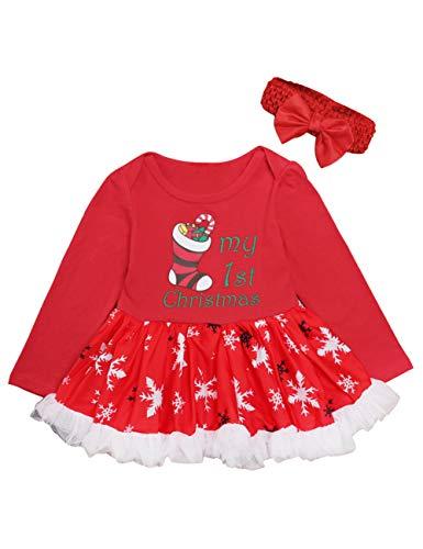 BESBOMIG Baby Mädchen Weihnachten Outfit Spielanzug Tutu-Kleider Overall - Lange Ärmel Kleid Spielanzug mit Bogen Stirnband