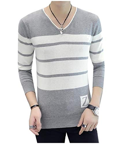 3/4 Sleeve Wool Pullover (CuteRose Mens Long-Sleeve V-Neck Assorted Colors Knit Pullover Sweater Light Grey M)