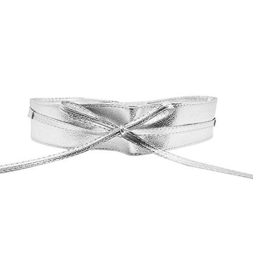 Bodhi2000 Damen Soft PU Faux Leder Gürtel Self Tie Wrap um Waist Band Cinch Gürtel (Wrap Faux Bluse)