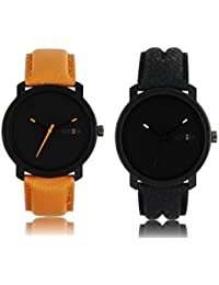 Tomorrowtrend Analog Black Dial Multi-Color Leather Strap Men's & Boy's Combo Of 2 Watch(Black And Brown Color)