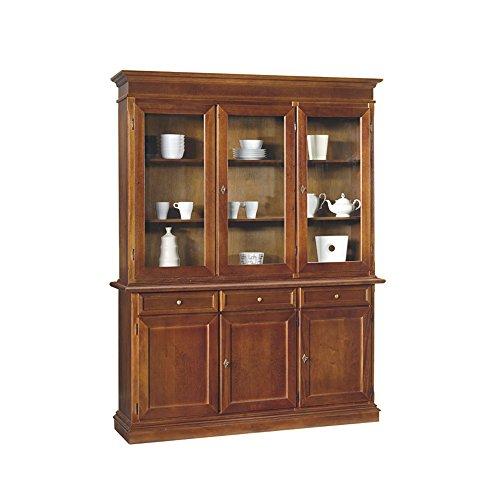 InHouse srls Credenza con cristalliera, arte povera, in legno massello e mdf con rifinitura in noce lucido - Mis. 156 x 42 x 205