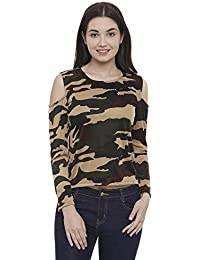 The Dry State Women's Military Camoflauge Cold Shoulder Full Sleeves Top