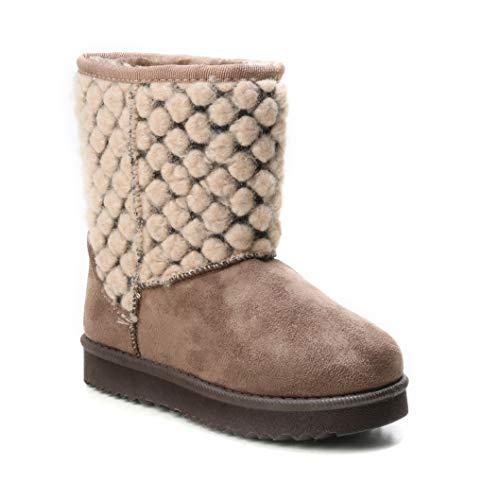 HERIXO Damen Baby Kinder Mädchen Junge Schuhe Winter-Boots Snowboots Muster-Schaft Gemustert Schnee Fell-Stiefel warm dick gefüttert Futter Schlupfstiefel(33 EU,Khaki)