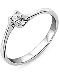 Miore M9004RM - Anillo de mujer de oro blanco (9k) con 1 diamante