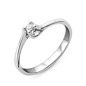 Miore Diamond Ring, 9ct White Gold, Diamond Solitaire Ring, Size L, M9004RM