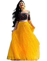 KRISHNA PRIYA Women's Net Semi-stitched Lehenga Choli with Blouse Piece (KRISHNA PRIYA YELLOW_Yellow & Green_Free Size)