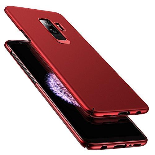 RANVOO Kompatibel mit Samsung Galaxy S9 Plus Hülle, Dünn Leicht Ultra Slim Hart Hard Matt Anti-Kratzer Anti-Fingerabdruck Voller Schutz Handyhülle Case Cover Schale Schutzhülle, Rot Rot Hard Case