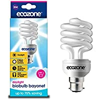 Ecozone Biobulb BB15 Energy-saving Daylight Bulb, Bayonet Cap B22, 25W Equivalent to 100W, 1750 Lumens, Daylight White 6400K, Uses 75% less Energy
