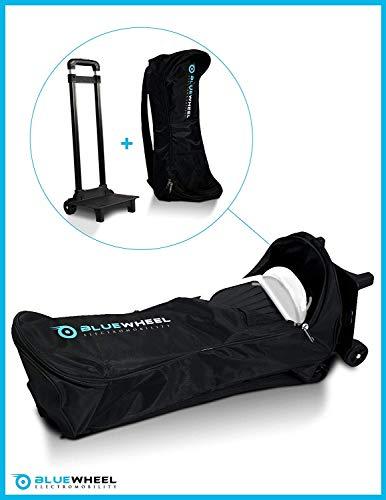 Bluewheel CASE6.5 / CASE10 Self Balance Scooter Rucksack Tragetasche Trolley mit 2 Rollen, 2 Rückenpolstern, versenkbarem Griff & Netztasche - Wasserabweisend & strapazierfähig - für 10 Zoll