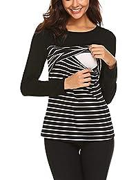HOUMENGO Top de Camiseta de Lactancia Materna a Rayas de Manga Larga para Embarazadas Camiseta de Lactancia Multifunciona Maternidad para Mujer para amamantar