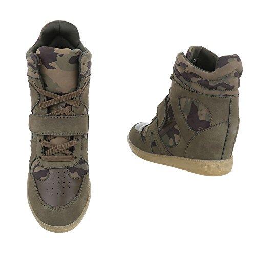 Donna Casual design Ital Da Alte Tacco Zeppa Alte Cerniera Scarpe Zeppa Sneakers Scarpe Sneakers Scarpe Con Zeppa Kaki CaXqx5dwx
