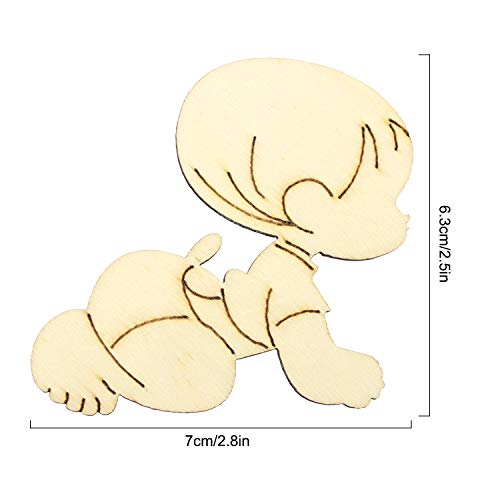 Hysagtek 30pcs Wooden Blank Baby Shapes Tags Craft Card Making Ideal for Scrapbooking, Gift Tags, Christmas, Weddings Or Hanging Art Decorations