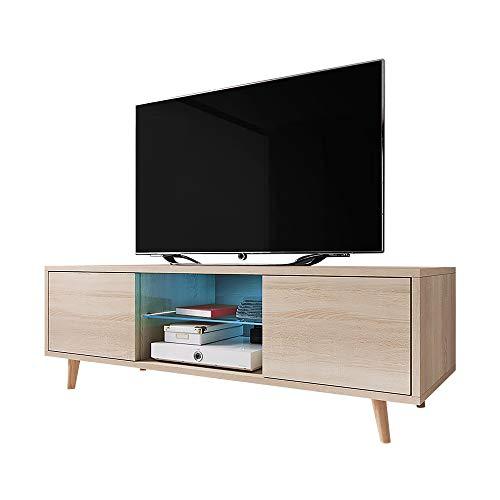 Rivano - Meuble TV Bas 140 cm Chêne Sonoma LED Bleu