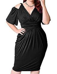 Damen Abendkleider Knielang Große Größen Mode Elegante Cocktailkleid  Kurzarm Schulterfrei V-Ausschnitt High Waist Slim Fit Classic Schöne… ad3d39ade9