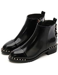 7b3cf547fd23 ☺HWTOP Stiefeletten Martain Stiefel Damen Flache Schuhe Frauen Rivet Leder  Runde Zehe Reißverschluss