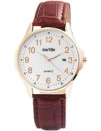 Alain Miller - Reloj de Pulsera analógico para Hombre (Correa de Piel y Metal,