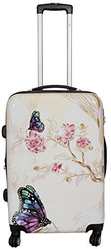 Polycarbonat Hartschalen Koffer Trolley Reisekoffer Reisetrolley Handgepäck Boardcase Motiv PM (Asia Butterfly, Größe L)