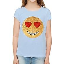 Lentejuela, emociones, Camisetas de manga corta de chicas, cara feliz del smiley amor.