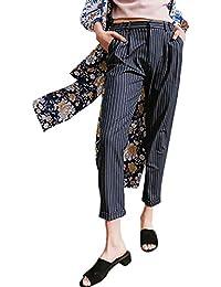 Pantalones Harem Otoño Verano Mujer Anchas Elegante Pantalones De Cintura  Alta Fiesta Estilo Rayas Verticales Pantalones d68b274c531