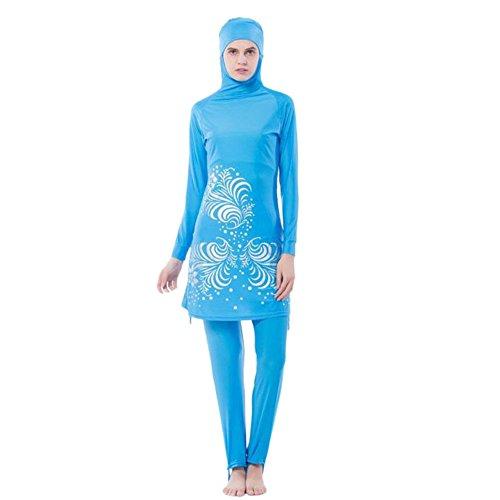 Deylaying musulmán 2-piezas Full Cover Sun Protection Hijab traje de baño islámico árabe Mujer Verano Adjunto Gorra Burkini bañador Middle East Malasia Modesto Beachwear Bathing Suit