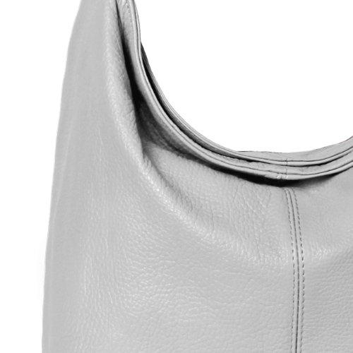 CASPAR Damen Ledertasche / Handtasche / Umhänge Tasche / Schultertasche / aus echt Leder MADE IN ITALY - TL645 Hell Grau