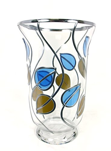 Hurricane Style Candle Lamp Glass Vase, Charles Rennie Mackintosh Inspired, Beautifully Hand Decorated Gift, Art Nouveau Style, Made In U.k.
