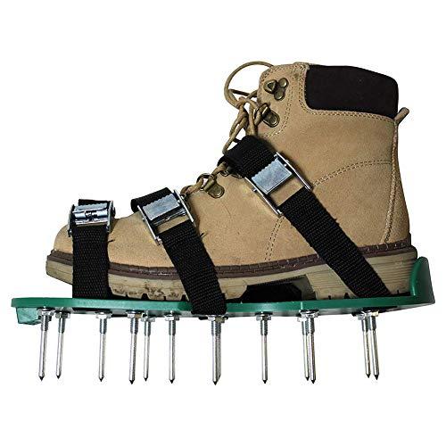 Hemore Gartenschuhe Rasenbelüfter Schuhe mit 4 Verstellbaren Riemen und 26 Metallschnallen mit Dornschliff, Gartenwerkzeug, für die Belüftung Ihres Rasens oder Hofes 1 Paar, Grün