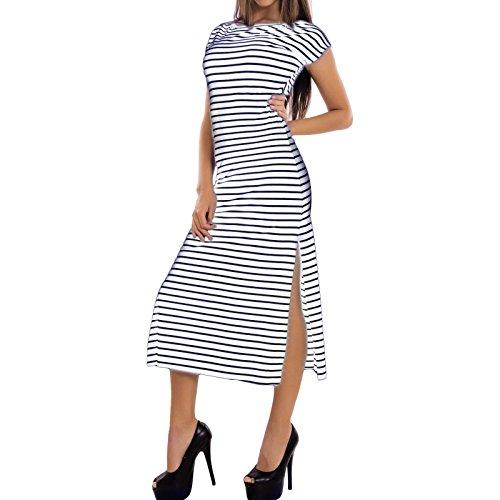Toocool - Vestito donna lungo abito righe copricostume elasticizzato sexy nuovo AS-4290-1 Bianco/Blu