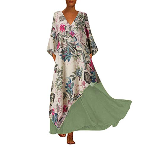 Tohole Damen Strandkleider Türkischer Stil Boho Lose Tunika Lange Sommerkleider Shirt Strandhemd Kleid Urlaub Vintage unregelmäßiges Kleid(Grün_D,3XL) -