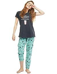 8e85f575ed ZEYO Women s Cotton Charcoal Black Coffee Mug Print Stylish Night Suit