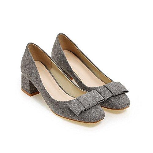 AllhqFashion Damen Mattglasbirne Quadratisch Zehe Mittler Absatz Ziehen Auf Pumps Schuhe Dunkelgrau