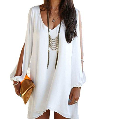 laixing New Fashion Summer Casual da donna vestito chiffon partito per abito corto. White Medium