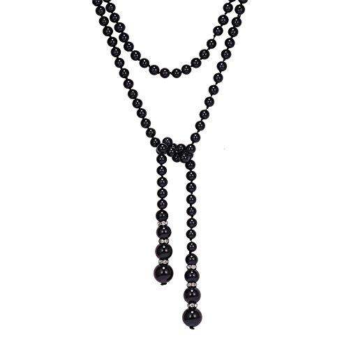 U7 Collier Long Perle Noir Femme Sutoir Robe Mariée Chaîne Perlée Doublé pour Dos Nue Bijoux Fantaisie pour Jeune Fille (136cm)
