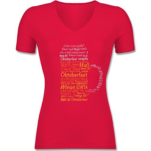 Shirtracer Oktoberfest Damen - Oktoberfest Maß - Tailliertes T-Shirt mit V-Ausschnitt für Frauen Rot