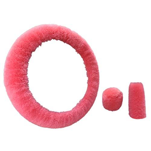 Semoic Lenkrad PlüSch Auto Lenkung Rad BezüGe Winter Kunstpelz Hand Bremse und Getriebe Abdeckung Set Auto Innen Ausstattung Universal (Pink)