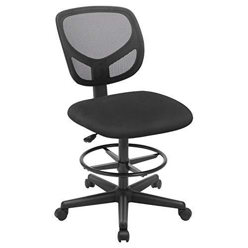 SONGMICS Bürostuhl, Ergonomischer Arbeitshocker, Sitzhöhe 56-75 cm, Hoher Arbeitsstuhl mit verstellbare Fußring, Belastbarkeit 120 kg, Schwarz OBN15BK