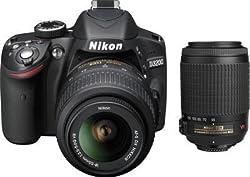Nikon D3200 24.2MP Digital SLR Camera (Black) with AF-S 18-55mm VR II Kit and AF-S DX VR Zoom-NIKKOR 55-200mm f/4-5.6G IF-ED Twin Lens 8GB Card, Camera Bag