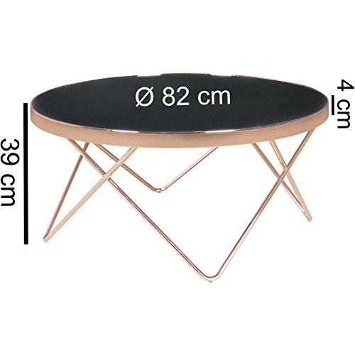 FineBuy Design Couchtisch Glasplatte schwarz / Gestell kupfer ø 82 cm |  Wohnzimmertisch verspiegelt Sofatisch modern | Glastisch Kaffeetisch rund  ...