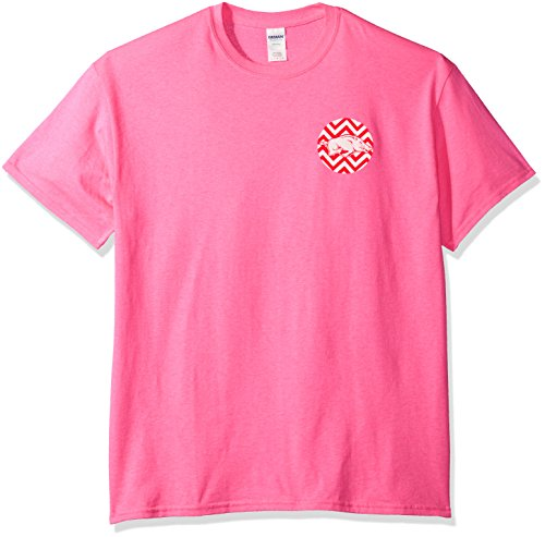 New World Grafiken Arkansas NCAA Chevron Short Sleeve, Unisex, Arkansas, Safety Pink