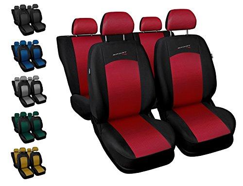 CoprisediliAuto Anteriori e Posteriori Copri-sedile con Airbag Sistema Sport Line - Nero e Rosso