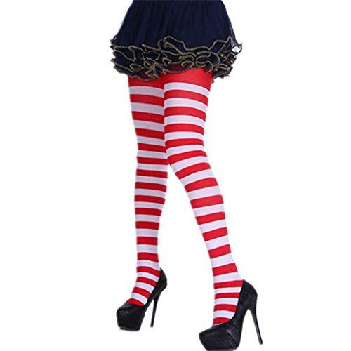 Xuthuly Frauen Streifendruck Lange Röhre Kniestrümpfe Kostümfest Lustige Anzieh Requisiten Komfortable Baumwolle Gestreifte Lange Socken