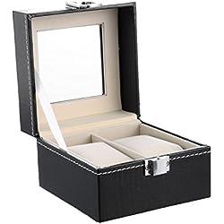 Housweety Neu Uhrenkoffer Uhrenbox für 2 Uhren Uhrenkasten Schwarz