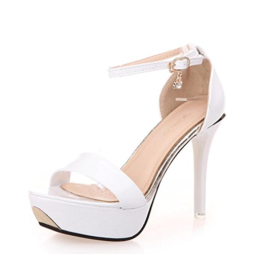 Winwintom Las mujeres sandalias open toe sandalias de tacon alto de las mujeres correa de tobillo zapatos de verano (37, Blanco)