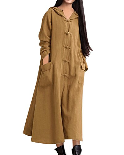 StyleDome Femme Vintage Robe Coton Hoodies Casual Longues Tunique Large Lâce Robe Maxi Jaune