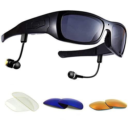 DCCN Espionaje Cámara Gafas Spy CAM Gafas polarizadas Gafas de Sol con cámara UV400 Stereo Bluetooth Headset Auriculares para iPhone/Android Teléfono Móvil para Rueda de Bicicleta Moto Bike